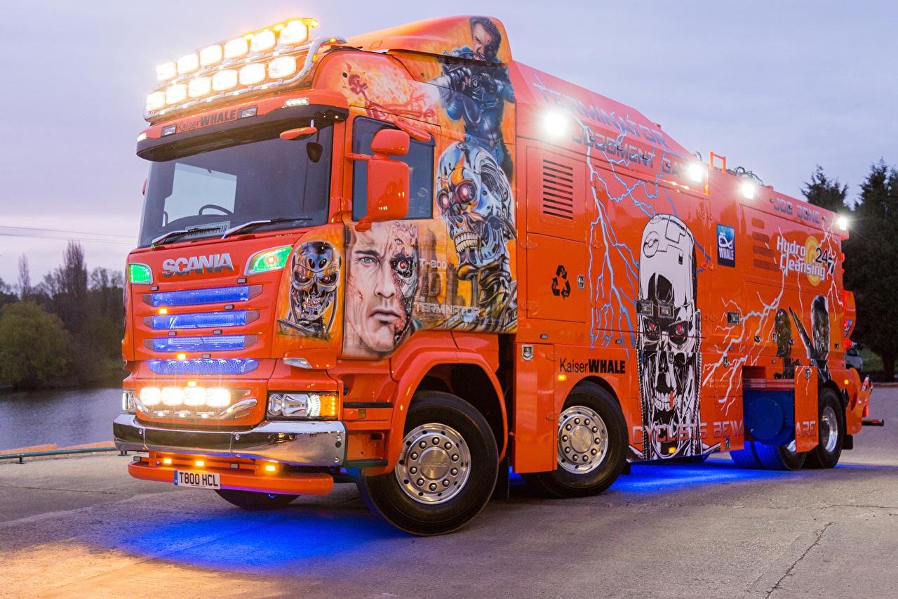 Pictures Scania Trucks Tuning 2016 R730 Highline  Terminator Orange Cars