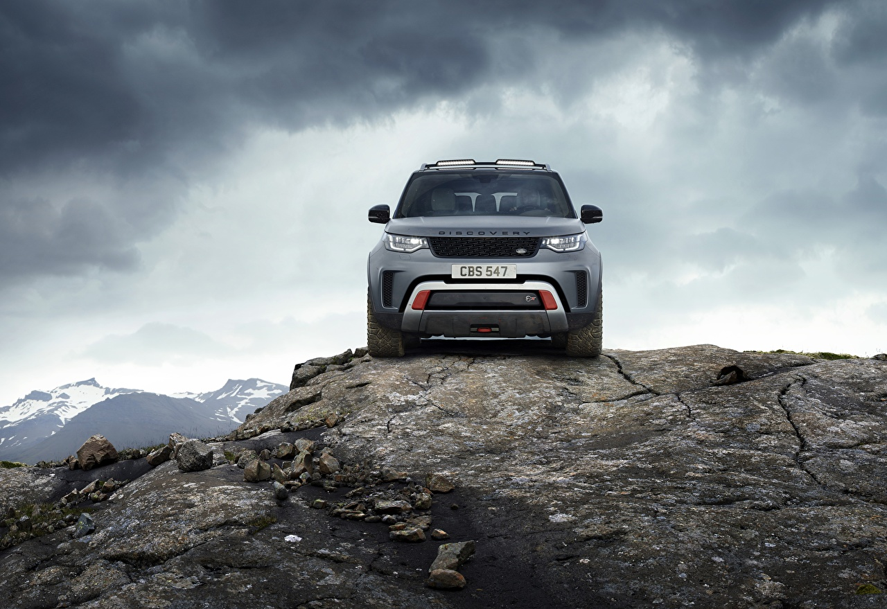 Wallpaper Range Rover Sport utility vehicle Discovery 4x4 2017 V8 SVX 525 Crag gray Cars Front Stones Metallic Land Rover SUV Grey Rock Cliff auto stone automobile