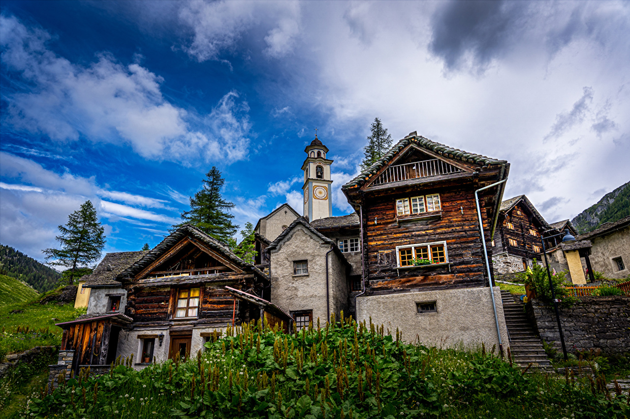 Image Switzerland Bosco Gurin stairway Street lights Houses Cities Stairs staircase Building