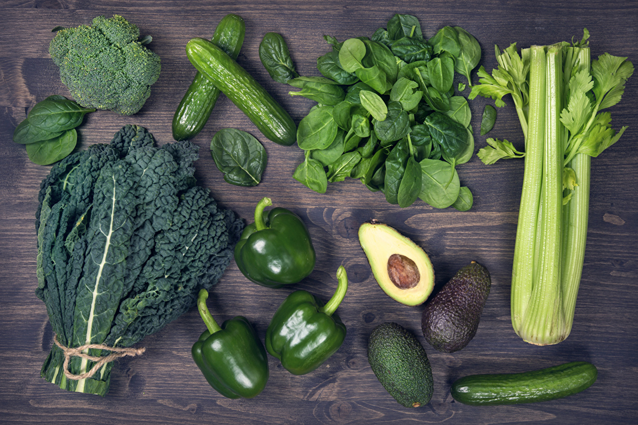 Photo Green Cucumbers Avocado Food Pepper Vegetables Wood planks boards