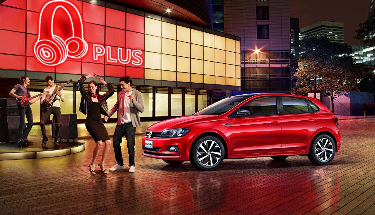 Bilder von Volkswagen 2019 Polo Plus Rot auto Autos automobil
