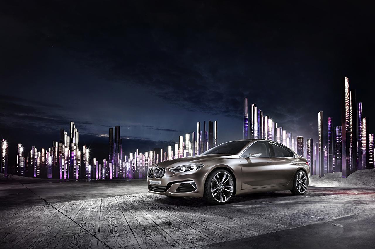 Photos 2015 BMW Concept Compact Sedan Night automobile auto Cars night time