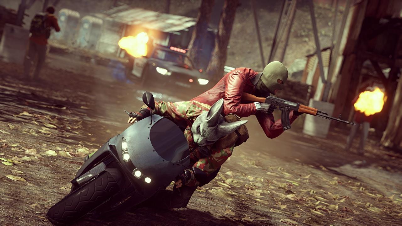 Picture Battlefield Hardline Kalashnikov Assault rifle Games Motorcyclist Masks AK vdeo game