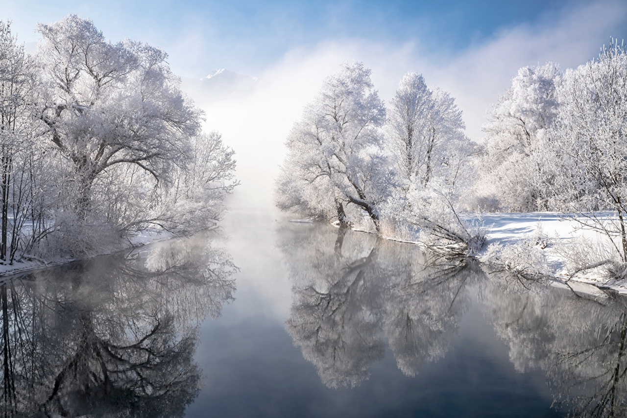 Image Bavaria Germany Winter Nature Snow Reflection Rivers Trees reflected river