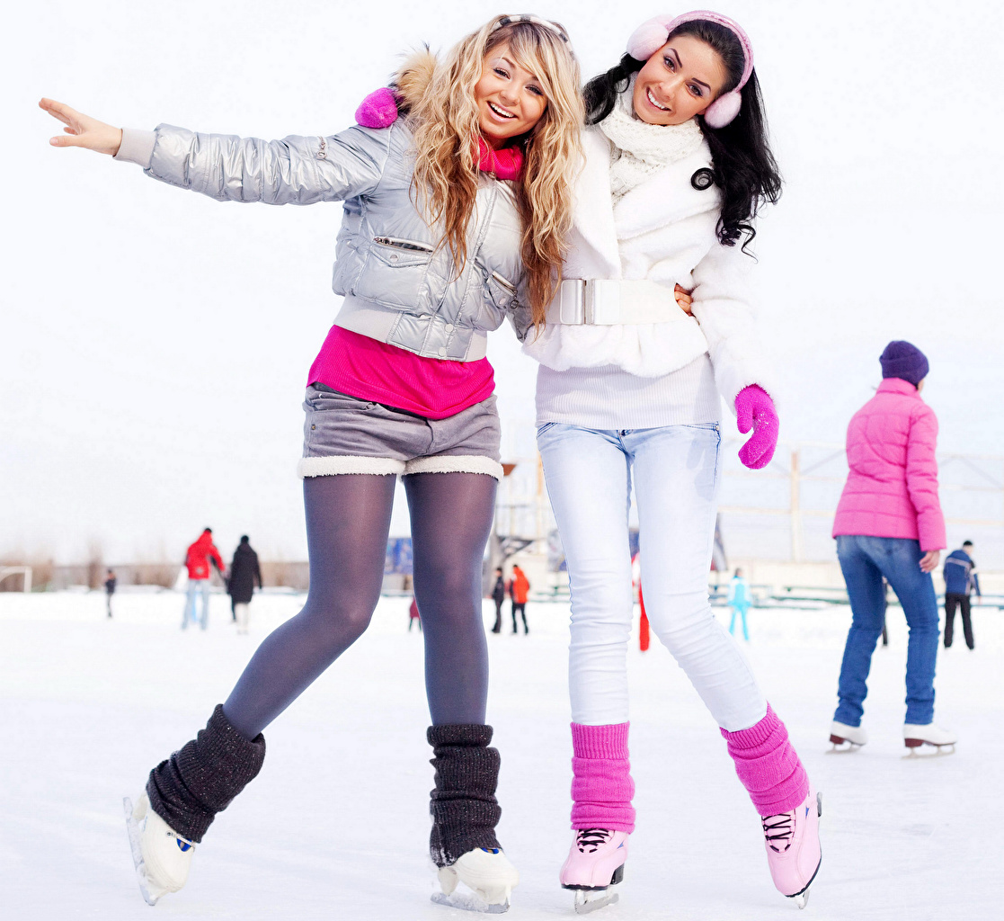 Pictures Ice skate Pantyhose Ice rink 2 Girls Winter Jacket Legs Two female young woman