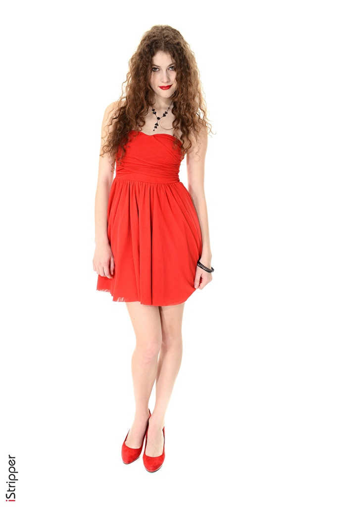 Bilder von Heidi Romanova Rotschopf iStripper Rot Mädchens Bein Hand Weißer hintergrund Kleid High Heels  für Handy junge frau junge Frauen Stöckelschuh