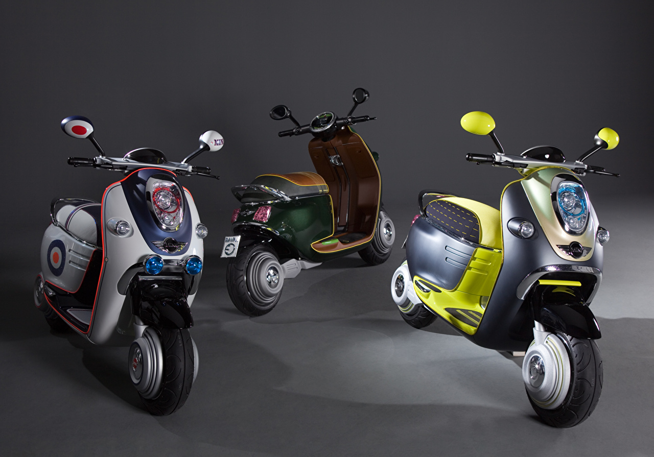 Desktop Wallpapers 2010 MINI Scooter E Concept motorcycle Three 3 Motorcycles
