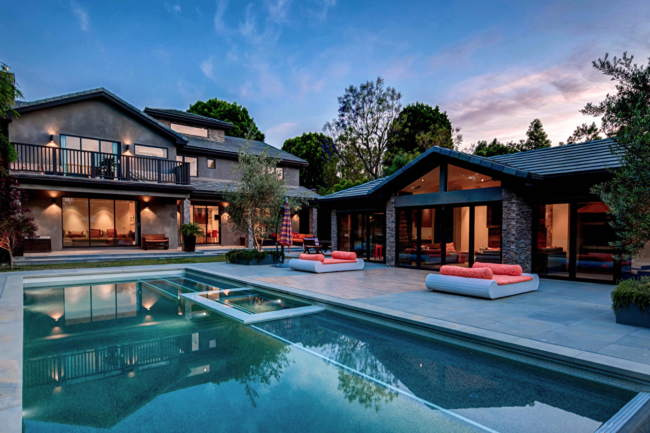 Desktop Wallpapers Villa Pools Houses Cities Design Swimming bath Building