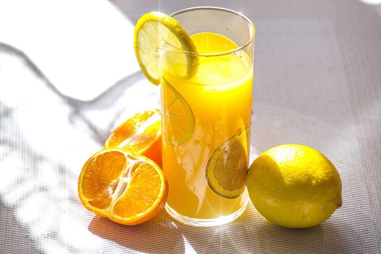 Photos Juice Orange fruit Lemons Highball glass Food