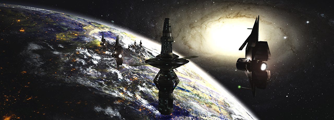 Afbeelding Ruimtestation Planeet oppervlak Fantasy Schepen schip