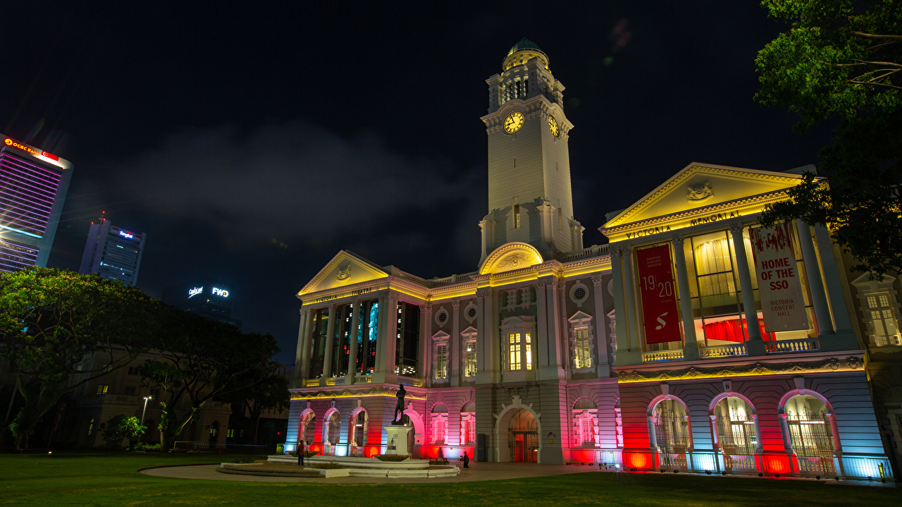 Desktop Wallpapers Singapore Raffles Place Clock Night Houses Cities night time Building