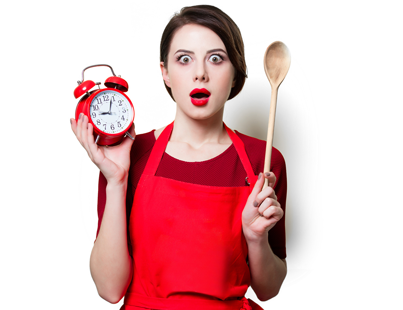 Desktop Wallpapers Brown haired Surprise emotion Clock Girls Alarm clock Spoon Red lips White background surprised amazement female young woman