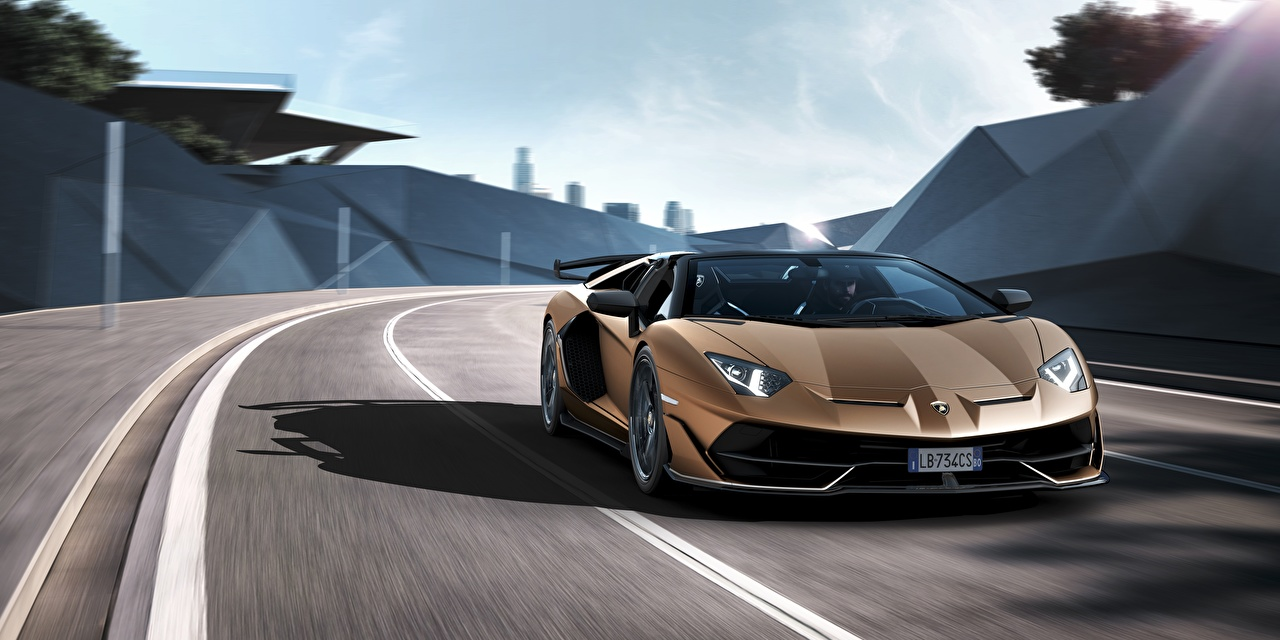 Picture Lamborghini Aventador SVJ Roadster moving Cars Motion riding driving at speed auto automobile