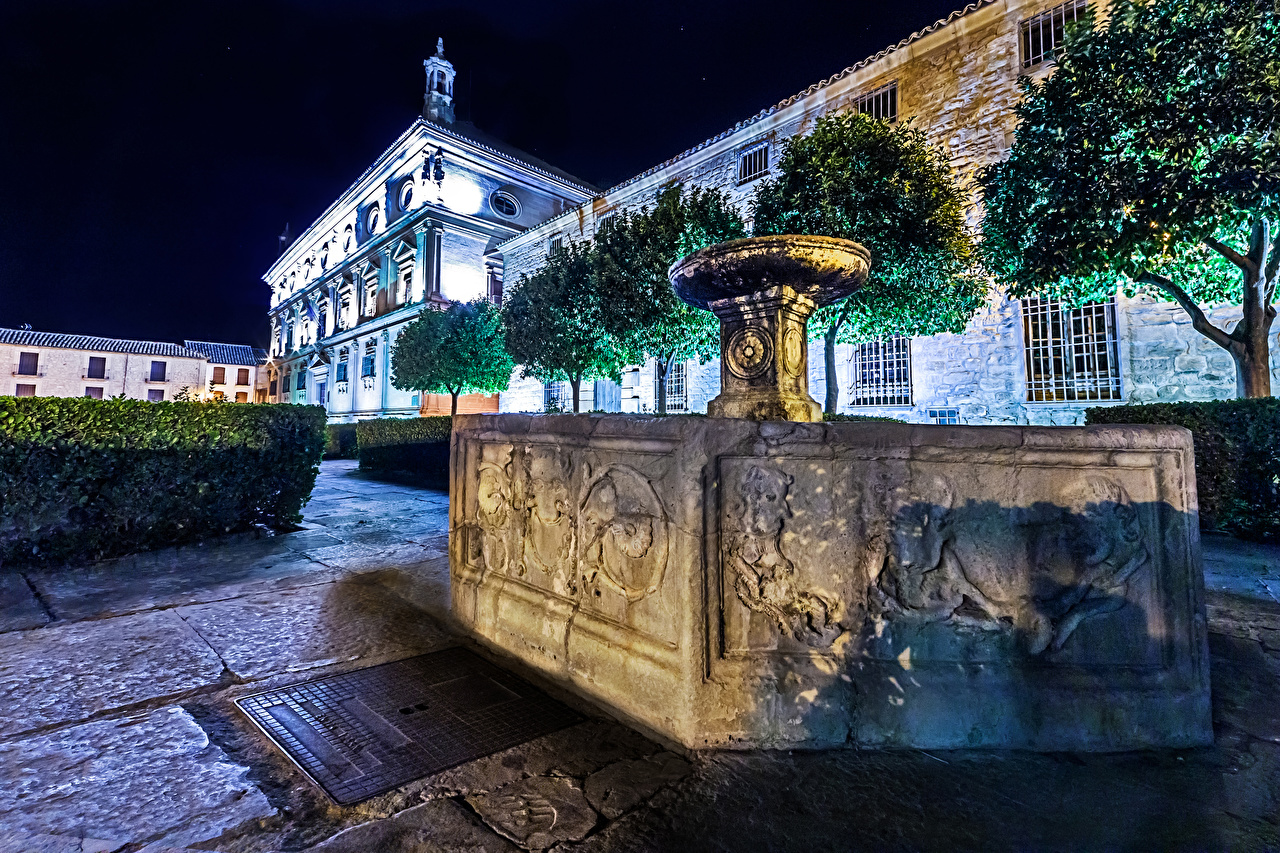 Picture Church Spain Fountains Temples night time Cities Night temple
