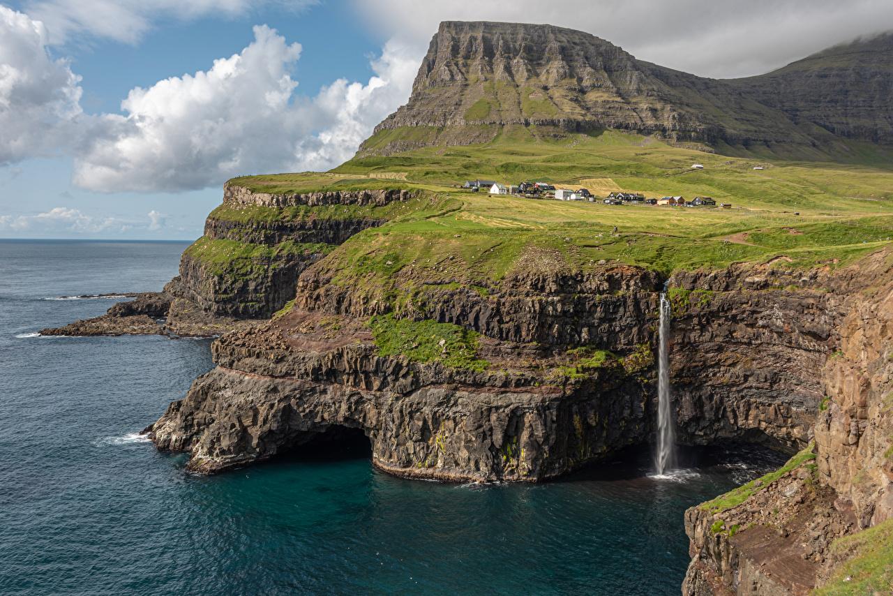 Images Denmark Faroe Islands Rock Nature Waterfalls Bay Coast Crag Cliff