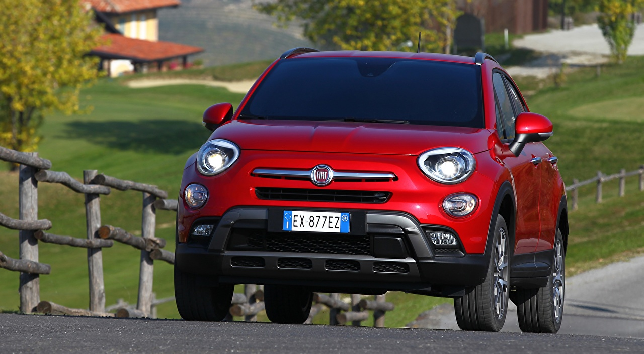 Images Fiat Crossover 500X, Cross, 2015 Red Front automobile CUV Cars auto