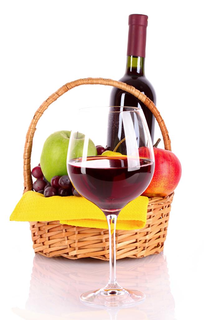 Photo Wine Wicker basket Food Fruit bottles Stemware White background  for Mobile phone Bottle