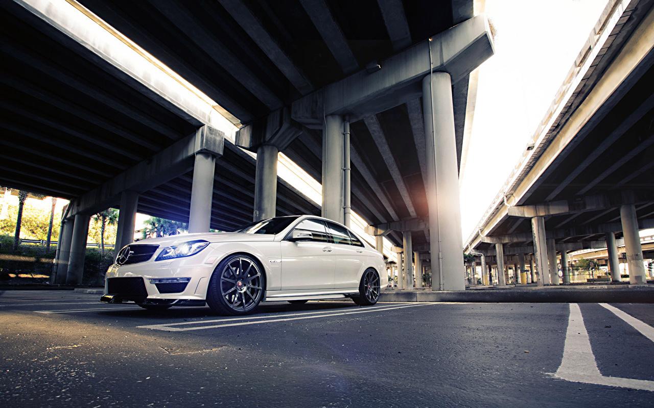 Picture Mercedes-Benz Sedan C63 Parking White bridge automobile parked Bridges Cars auto