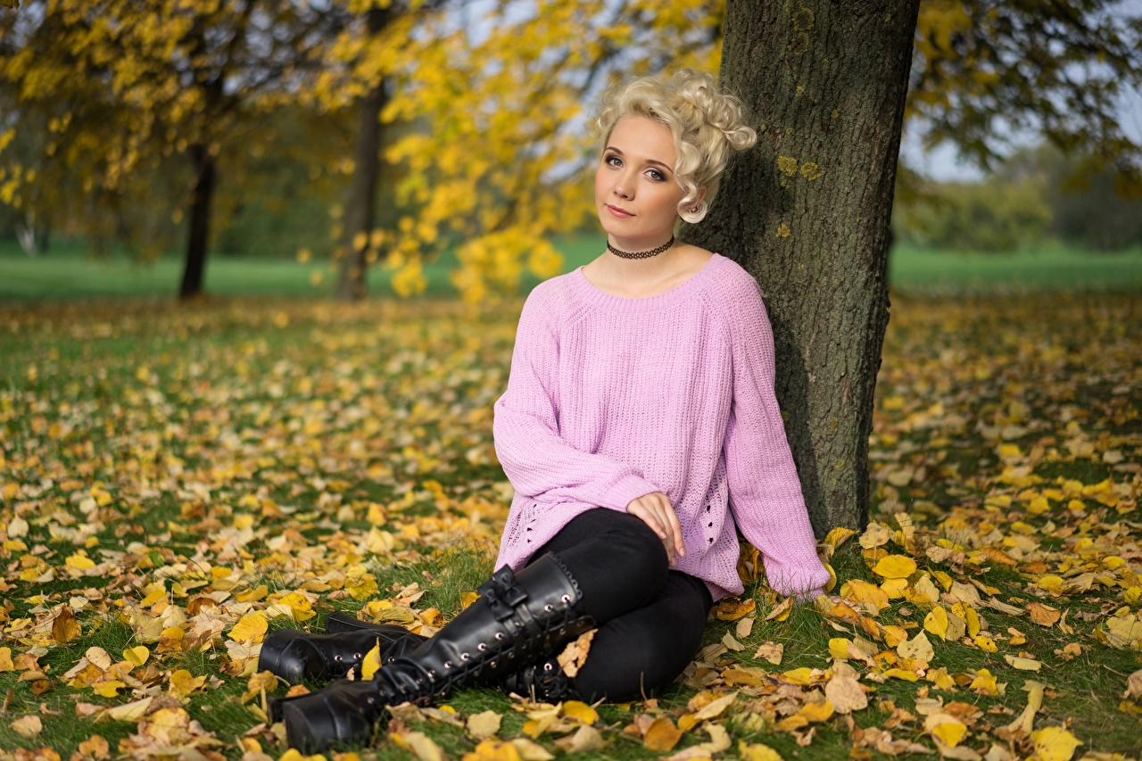 Picture Foliage Blonde girl Wearing boots Autumn female Legs Sweater Grass Hands Sitting Leaf Girls young woman sit