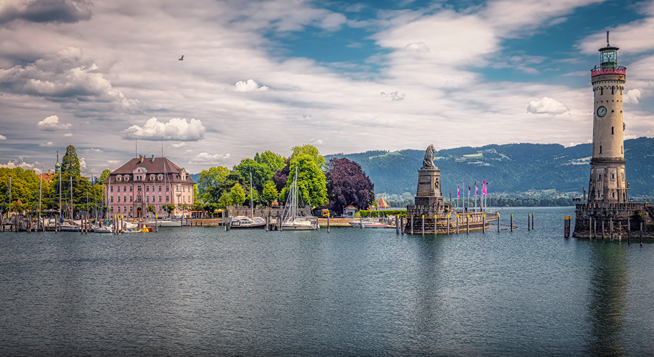 Desktop Wallpapers Bavaria Germany Monuments Lindau Lighthouses Bay Marinas Houses Cities Pier Berth Building