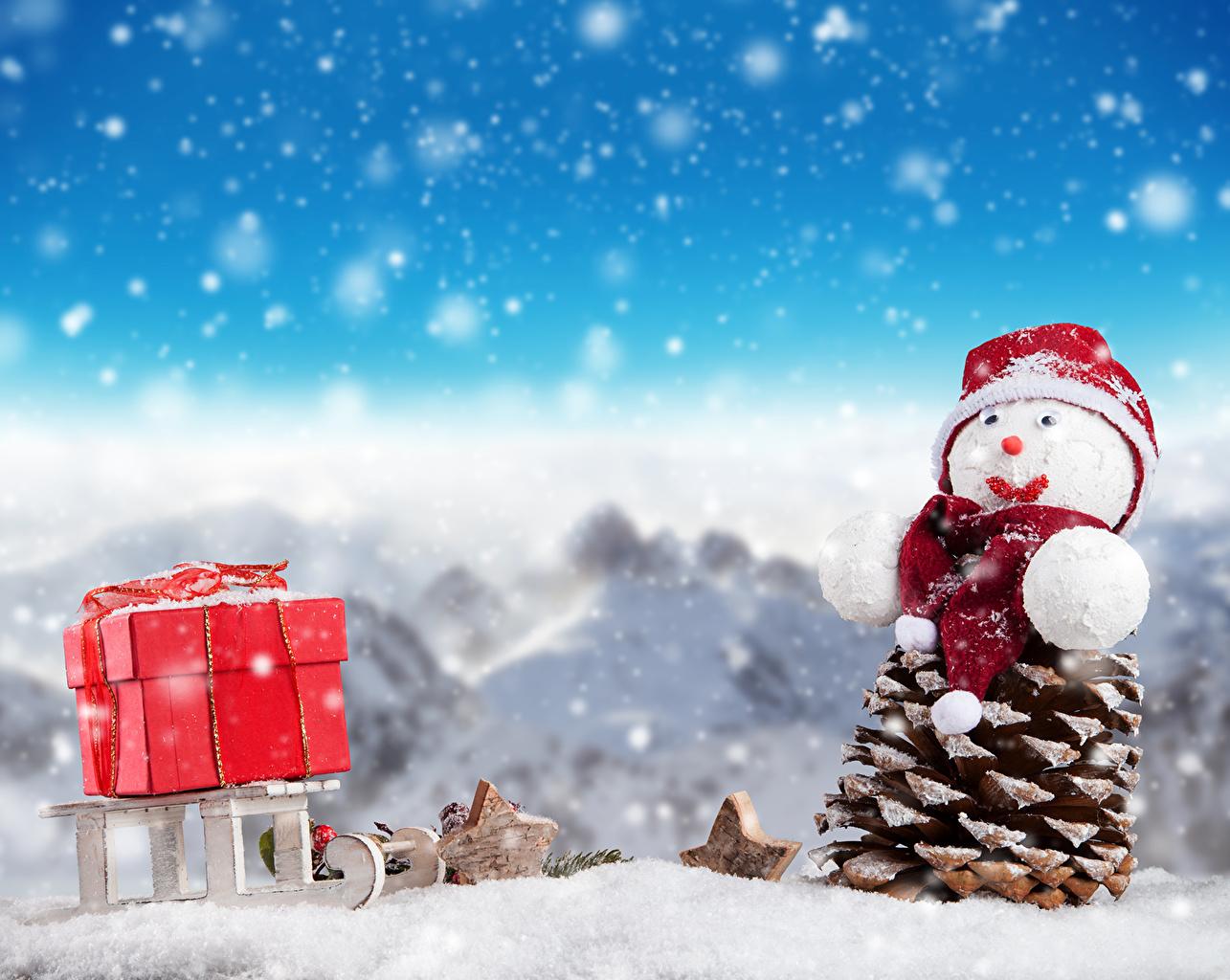 Feriados Ano-Novo Bonecos de neve Pinha Chapéu de inverno Neve Presentes