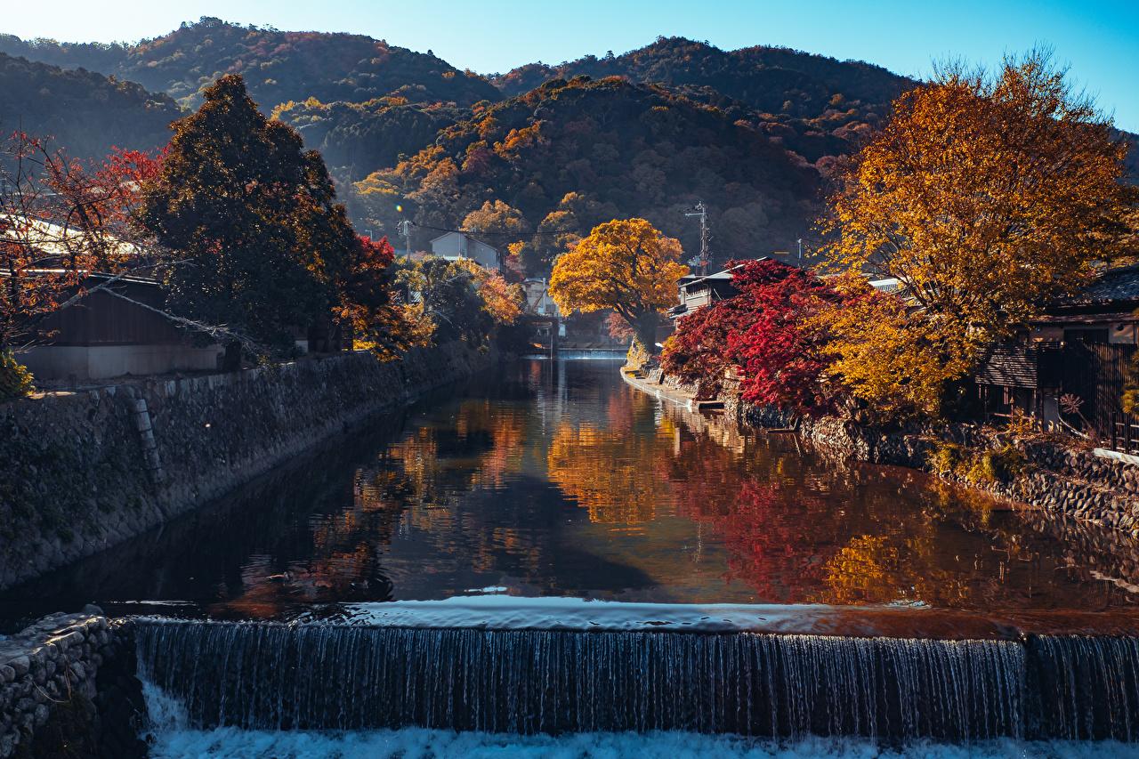 Fotos Kyōto Japan Arashiyama Berg Natur Kanal Herbst Wasserfall Bäume Gebirge