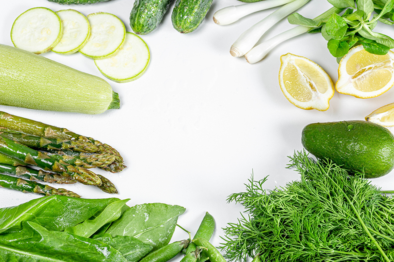 Photos Asparagus courgette Dill Lemons Avocado Food Vegetables White background Zucchini