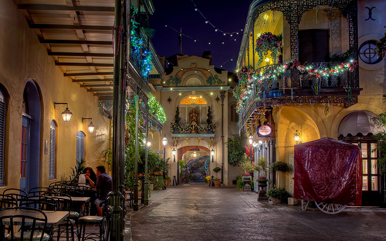 Picture California Disneyland USA Cafe Street night time Cities Night