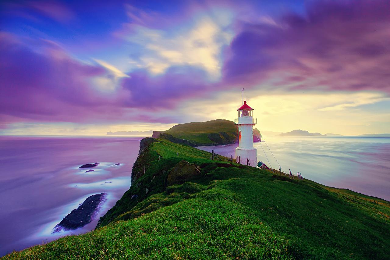 、海岸、空、灯台、アイスランド、海、島、Mykines Faroe Islands、草、雲、自然、