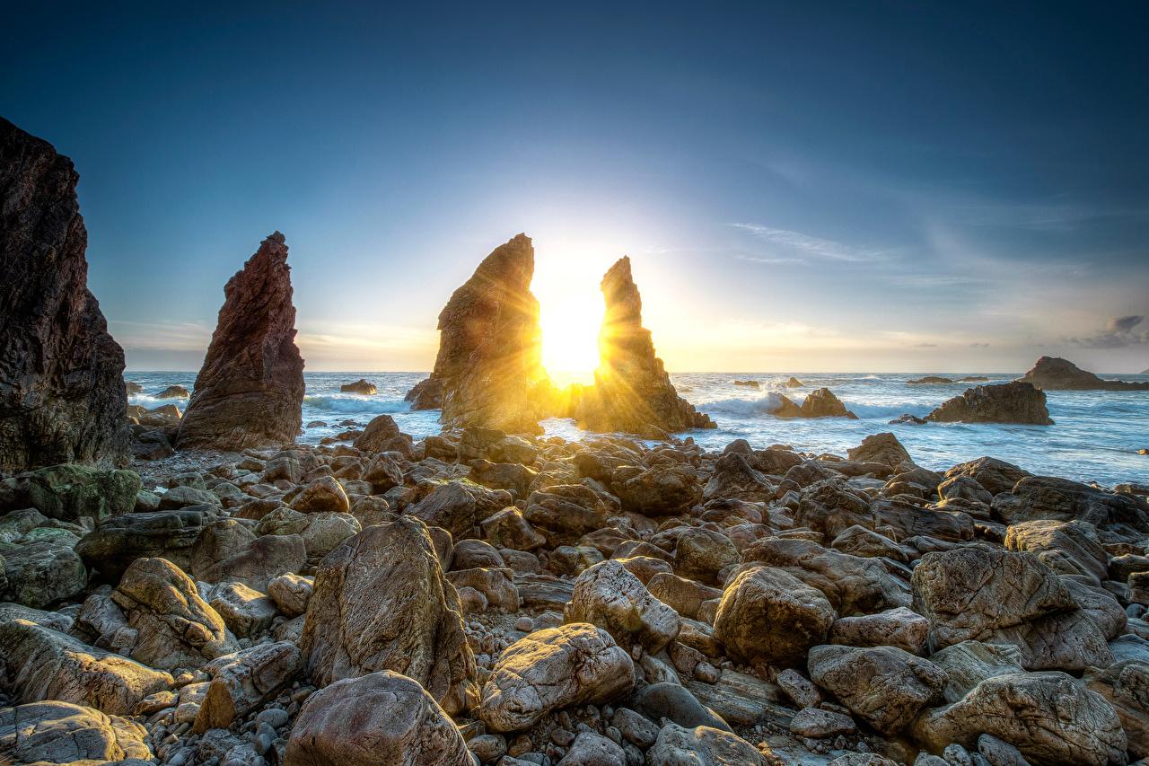 Image Ireland Crohy Head Sea Arch Sun Crag Nature Sunrises and sunsets Coast Stones Rock Cliff sunrise and sunset stone