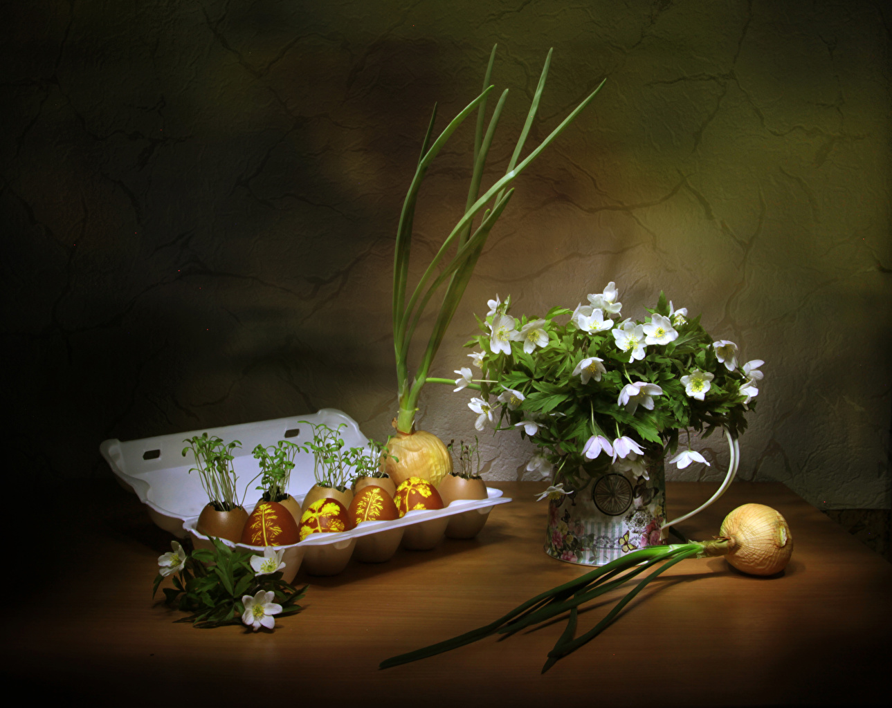 Picture Flowers Easter salad onions Onion Food egg Anemones Still-life flower Scallion Eggs anemone