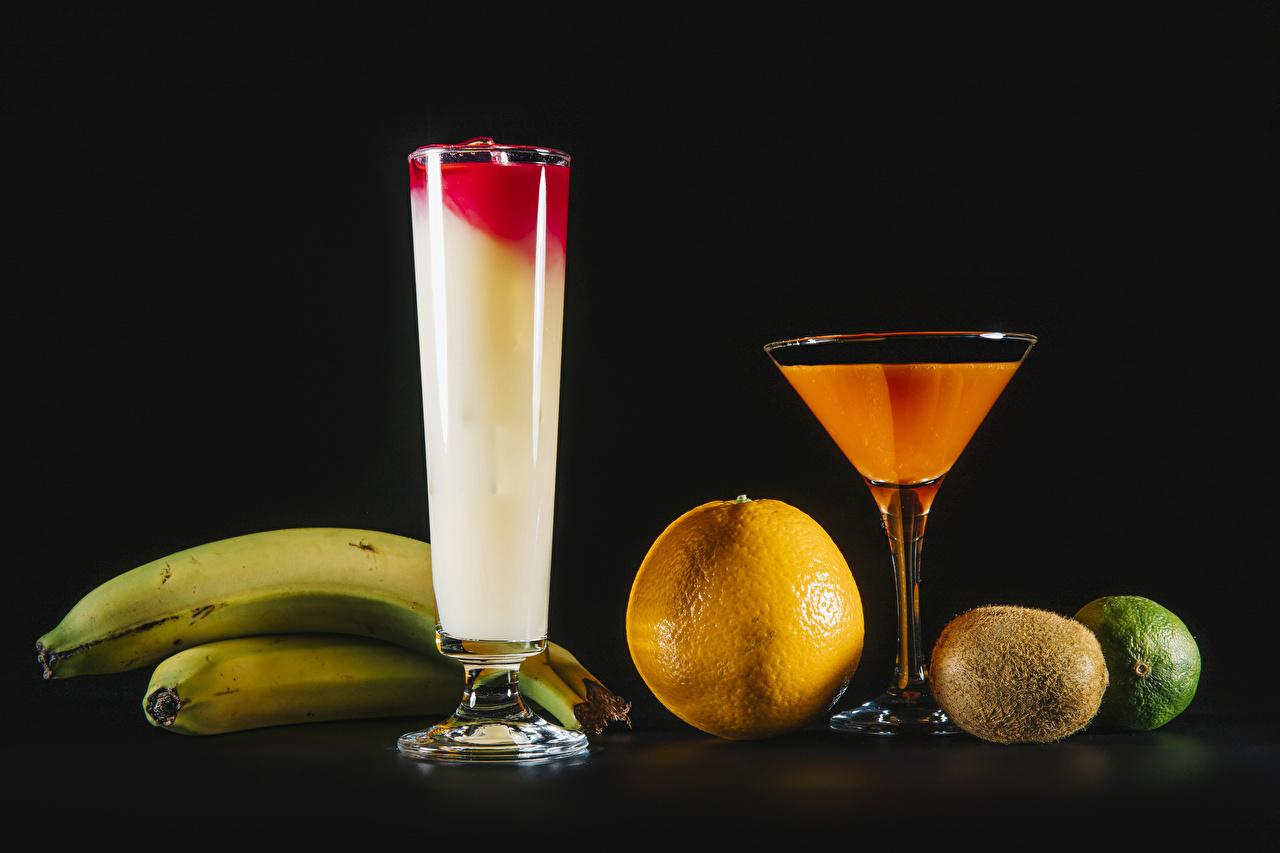 Picture Lime Juice Orange fruit Bananas Chinese gooseberry Food Stemware Black background Kiwi Kiwifruit