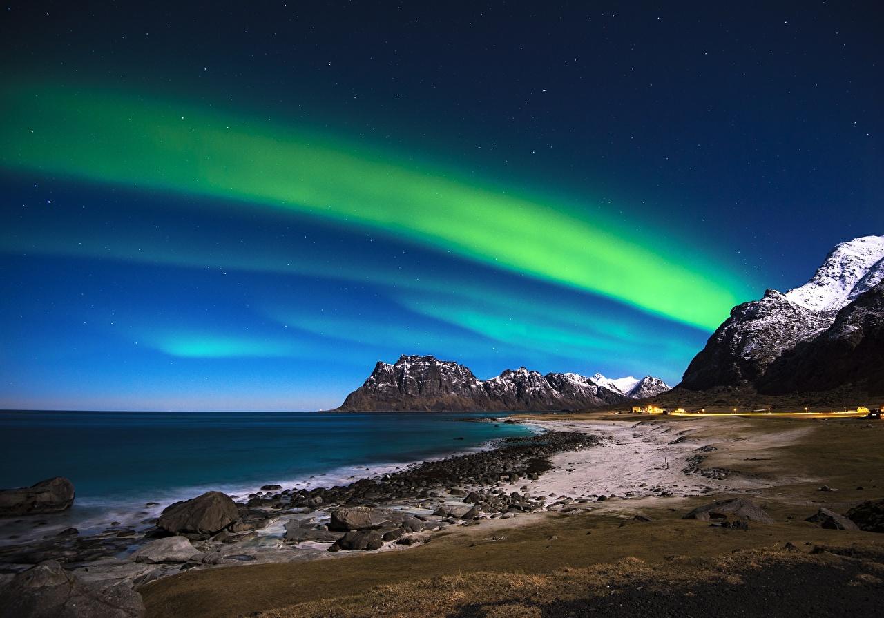 、ノルウェー、空、ロフォーテン諸島、Norwegian Sea、オーロラ、自然、