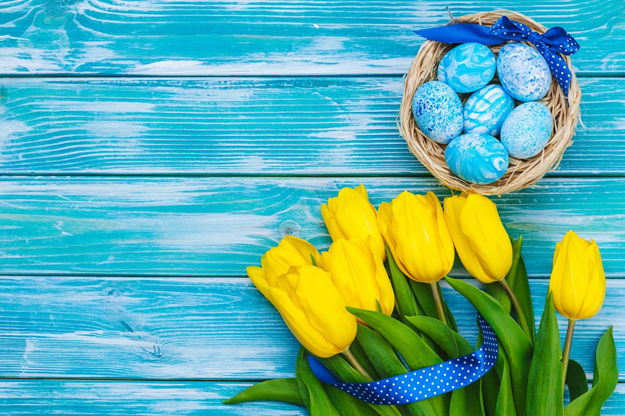 Image Easter Eggs tulip flower Template greeting card Wood planks egg Tulips Flowers boards
