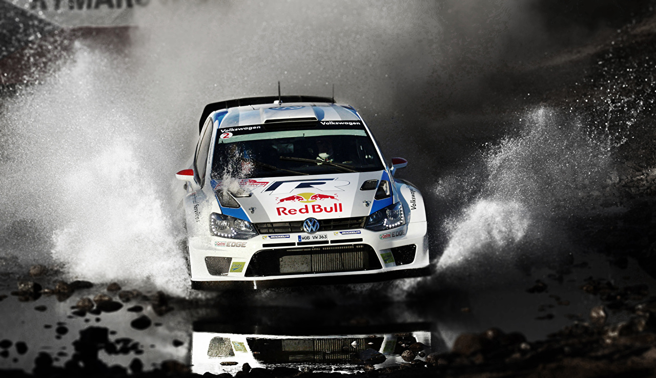 Pictures Tuning Volkswagen Rallying Polo WRC riding Water splash Cars Front moving Motion driving at speed auto automobile