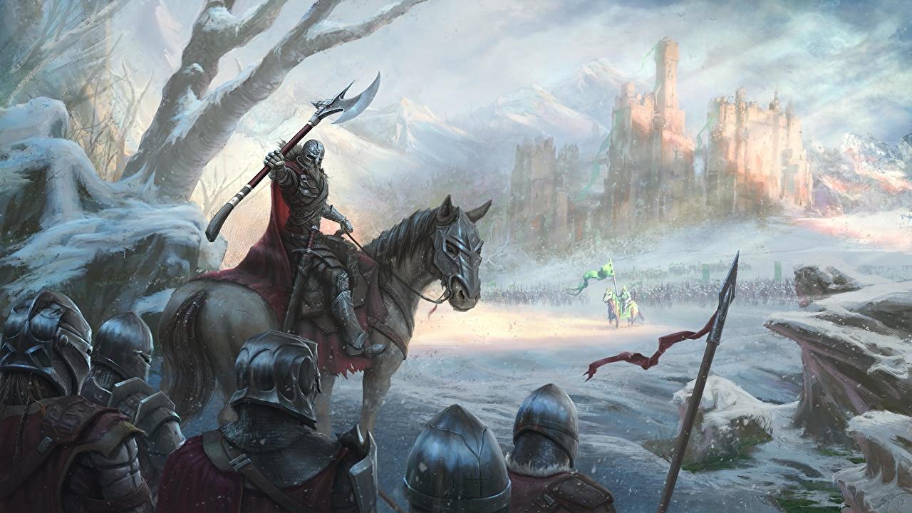 Tapety na pulpit Konie Zbroja Żołnierze Topór bojowy Kask mężczyzna Zima Zamek Fantasy Śnieg obraz koń żołnierz Mężczyźni Malarstwo