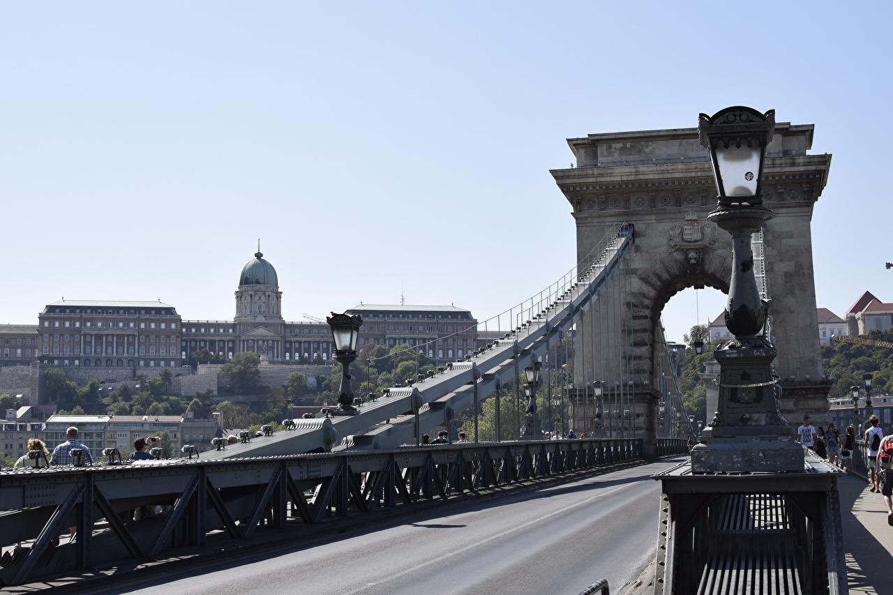Pictures Budapest Hungary Arch Bridges Roads Street lights Cities bridge