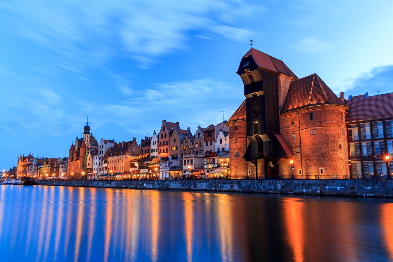 Wallpaper Gdańsk Poland Rivers Evening Waterfront Cities Building river Houses