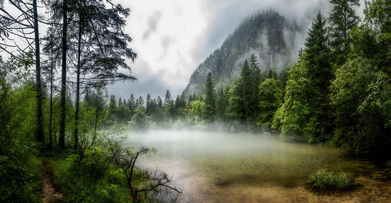 Desktop Hintergrundbilder Österreich Obertraun Nebel Berg Natur See Bäume Gebirge