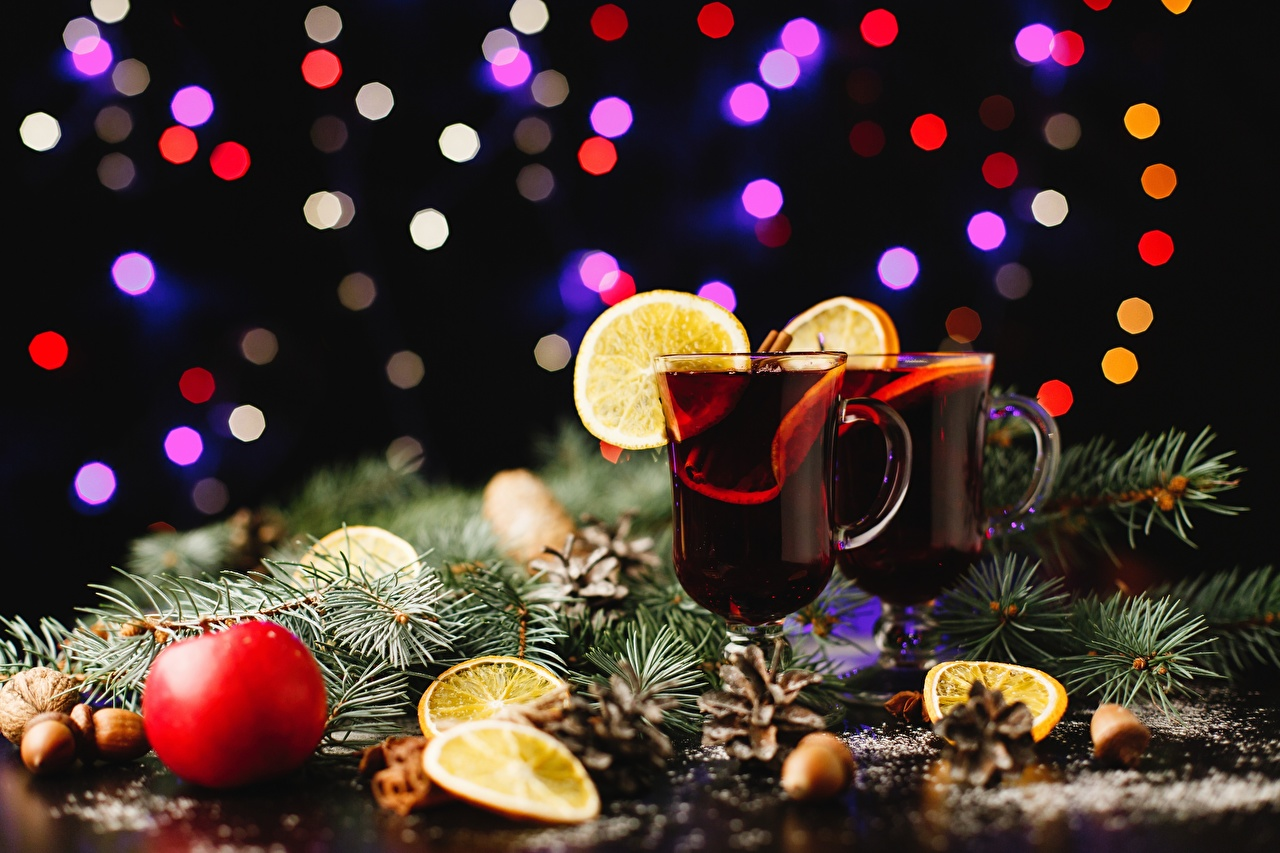 Photos Christmas Food Branches Stemware Drinks New year