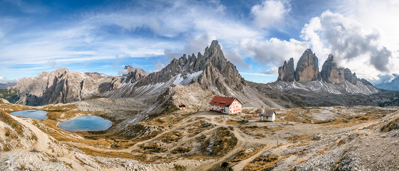 Image Nature Italy panoramic South Tyrol, Dolomites Clouds mountain Scenery Alps Panorama Mountains landscape photography
