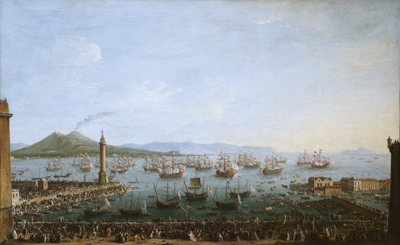 Images Antonio Joli, Departure of Charles III of Spain from Naples Ships Sailing Pictorial art ship