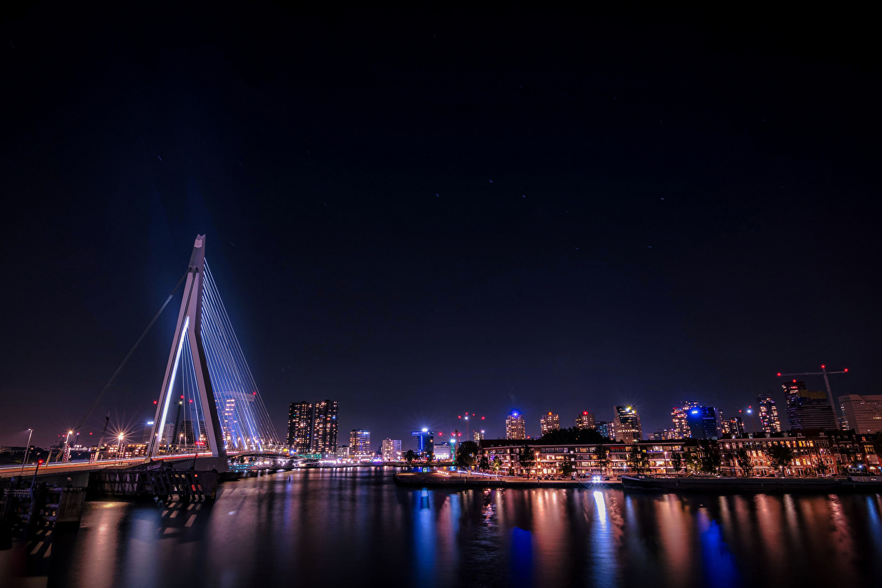 Picture Rays of light Rotterdam Germany bridge river night time Cities Building Bridges Night Rivers Houses