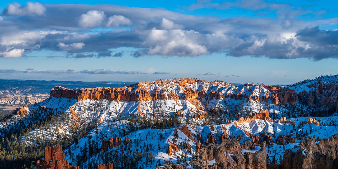 Wallpaper USA panoramic Bryce Canyon National Park, Utah Crag Nature Snow Parks Clouds Panorama Rock Cliff park