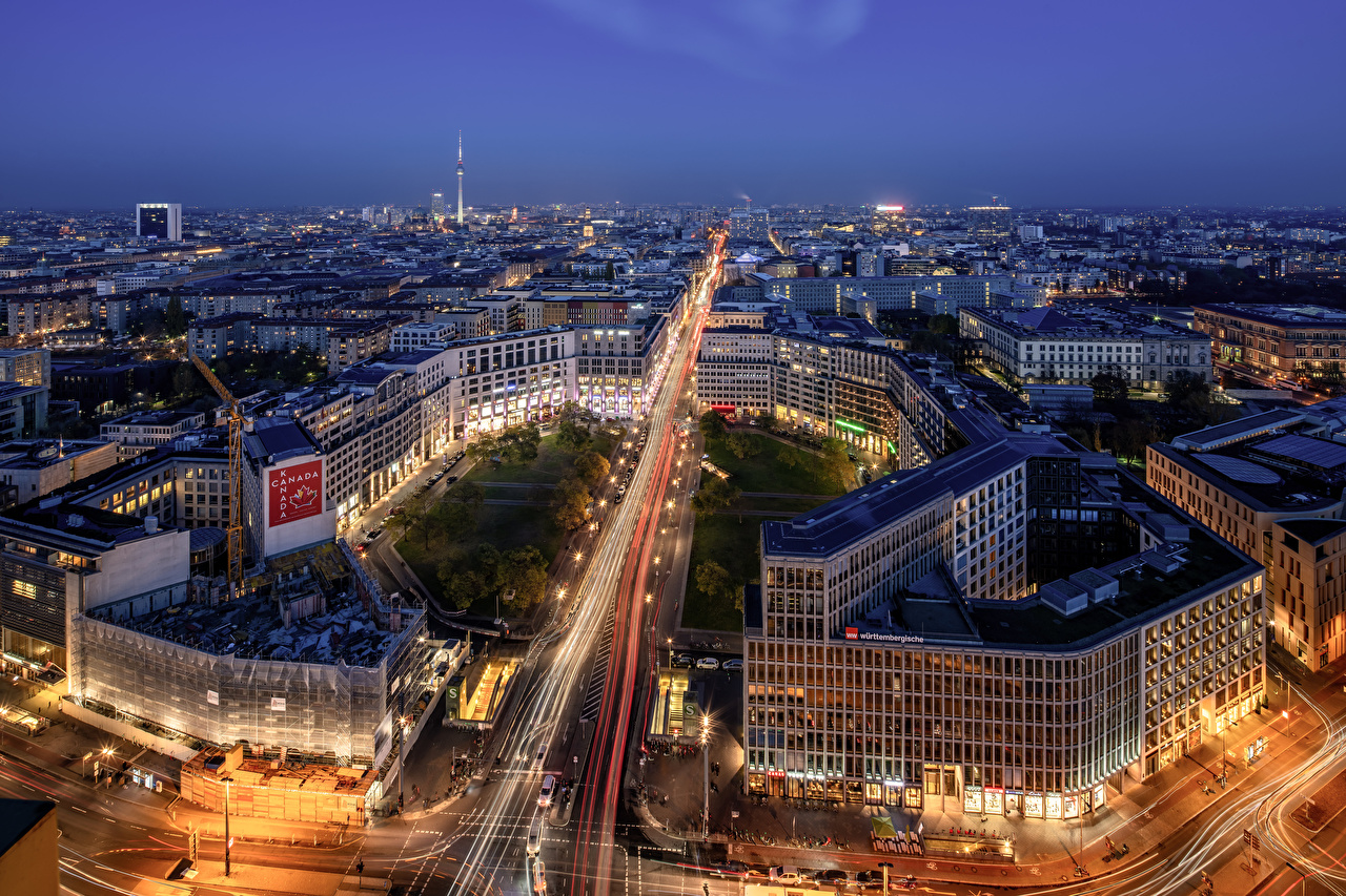 Images Berlin Germany Street Night From above Cities Building night time Houses