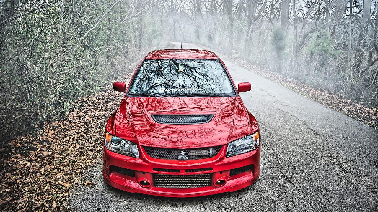 Images Mitsubishi Lancer Evolution IX Red HDRI Cars Metallic HDR auto automobile