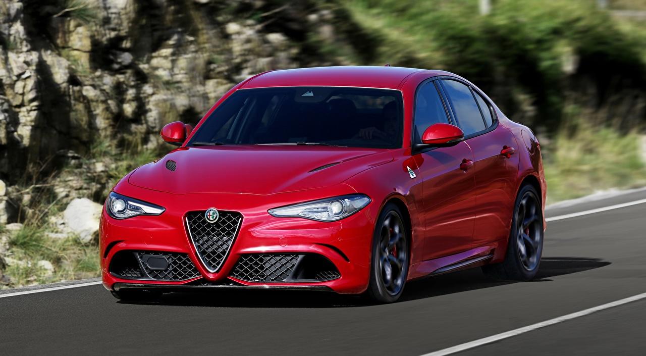 Wallpaper Alfa Romeo blurred background Sedan Red Motion auto Metallic Bokeh moving riding driving at speed Cars automobile