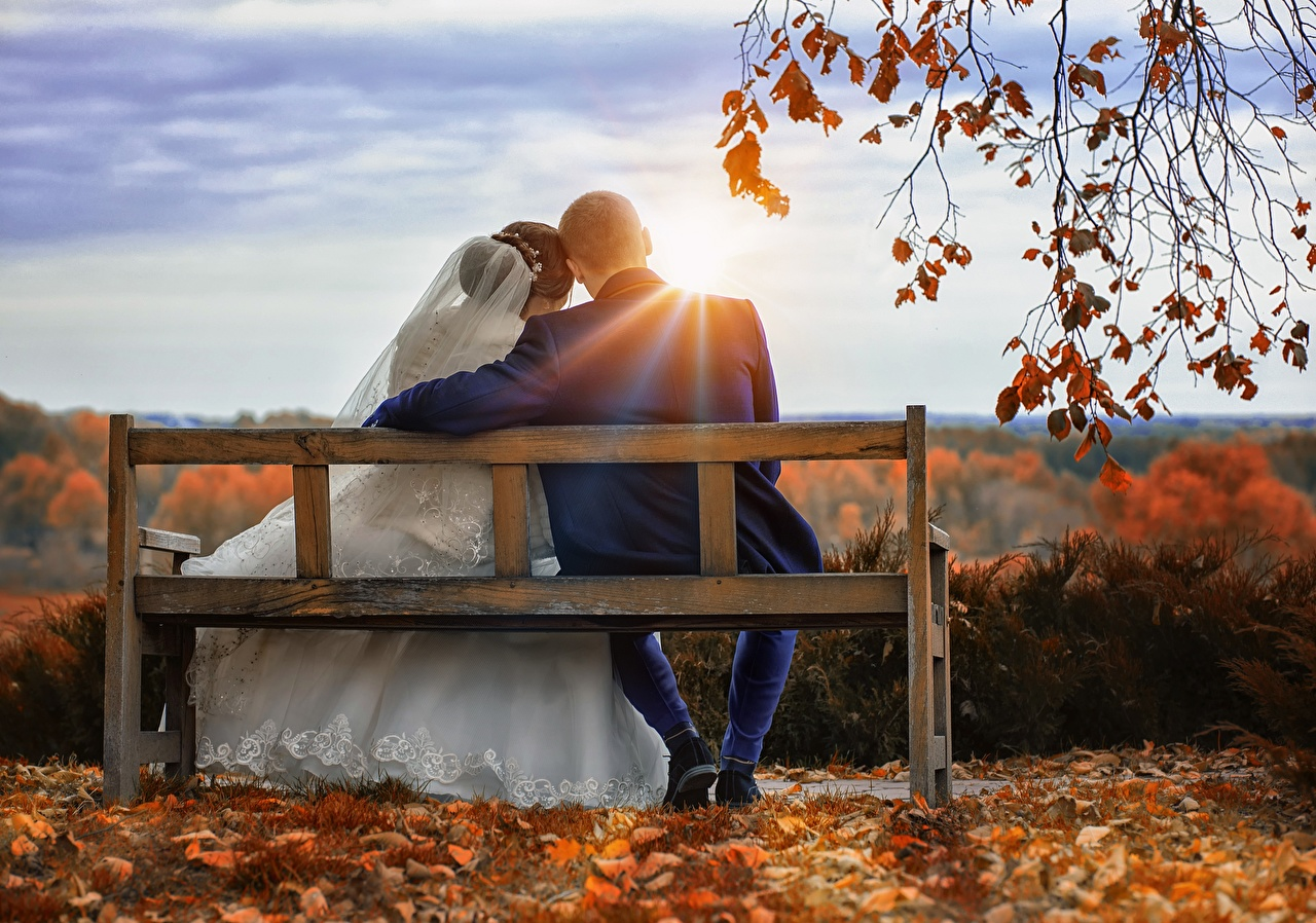 Wallpaper Rays of light Groom brides Men lovers 2 Autumn female sunrise and sunset Bench Sitting Branches grooms Bride Man Couples in love Two Girls young woman Sunrises and sunsets sit