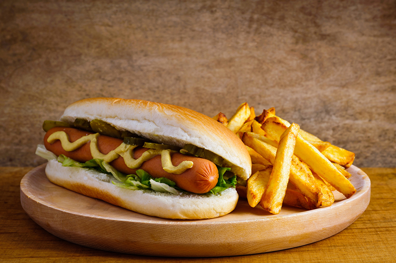 Wallpaper Food Hot Dog French Fries Fast Food Butterbrot Vienna