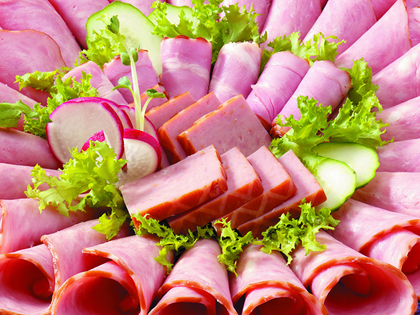 Photo Sausage Ham Food Vegetables Sliced food Meat products